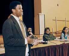 Morgan Speaks during Social Change Week at HUB Heritage Hall in January